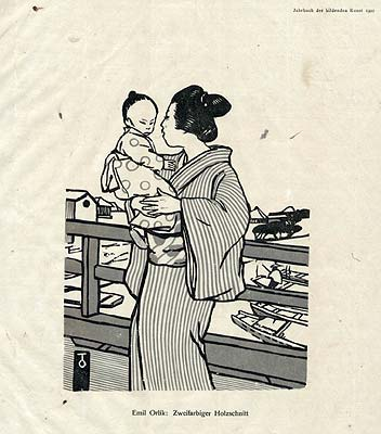 Japanerin mit Kind auf dem Arm - Japanese Woman with Child on her arm