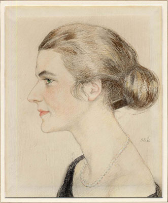 Portrait of a young lady with a chignon